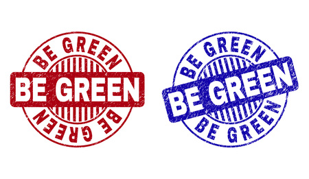Grunge BE GREEN round stamp seals isolated on a white background. Round seals with grunge texture in red and blue colors. Vector rubber overlay of BE GREEN tag inside circle form with stripes.