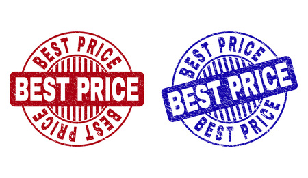 Grunge BEST PRICE round watermarks isolated on a white background. Round seals with grunge texture in red and blue colors. Vector rubber watermark of BEST PRICE text inside circle form with stripes. Çizim