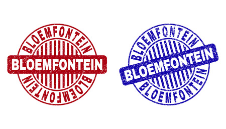 Grunge BLOEMFONTEIN round stamp seals isolated on a white background. Round seals with distress texture in red and blue colors. Illustration
