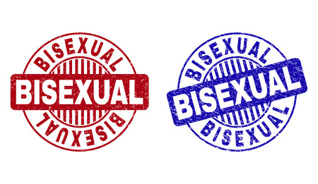 Grunge BISEXUAL round stamp seals isolated on a white background. Round seals with grunge texture in red and blue colors. Vector rubber imitation of BISEXUAL label inside circle form with stripes.