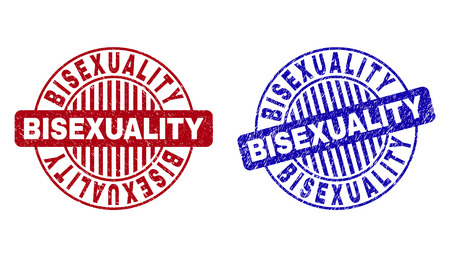Grunge BISEXUALITY round stamp seals isolated on a white background. Round seals with grunge texture in red and blue colors. Vector rubber imitation of BISEXUALITY tag inside circle form with stripes. Illustration