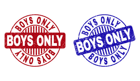 Grunge BOYS ONLY round stamps isolated on a white background. Round seals with grunge texture in red and blue colors. Vector rubber watermark of BOYS ONLY tag inside circle form with stripes. Illustration