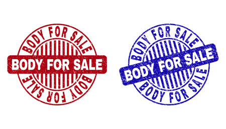 Grunge BODY FOR SALE round stamp seals isolated on a white background. Round seals with grunge texture in red and blue colors. Illusztráció