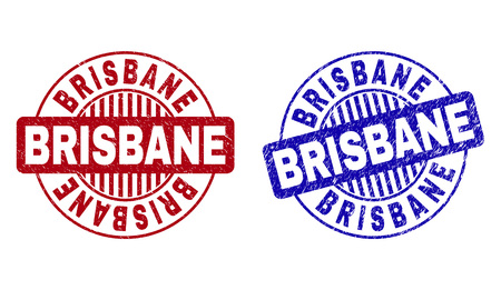 Grunge BRISBANE round stamp seals isolated on a white background. Round seals with distress texture in red and blue colors. Vector rubber imitation of BRISBANE label inside circle form with stripes.