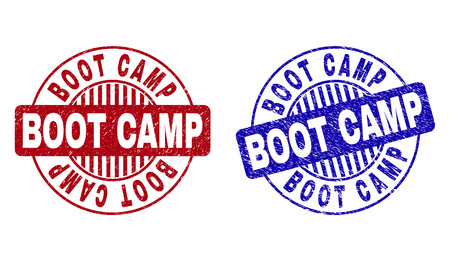 Grunge BOOT CAMP round stamp seals isolated on a white background. Round seals with grunge texture in red and blue colors. Vector rubber imprint of BOOT CAMP tag inside circle form with stripes.