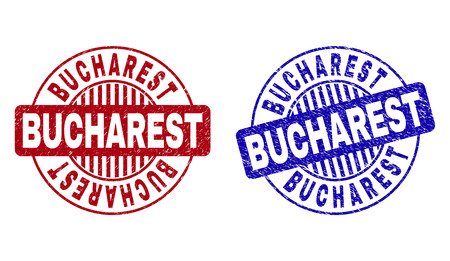 Grunge BUCHAREST round stamp seals isolated on a white background. Round seals with grunge texture in red and blue colors. Vector rubber watermark of BUCHAREST text inside circle form with stripes. Vettoriali
