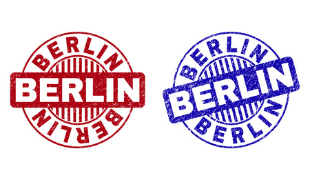 Grunge BERLIN round stamp seals isolated on a white background. Round seals with grunge texture in red and blue colors. Vector rubber watermark of BERLIN tag inside circle form with stripes. 向量圖像