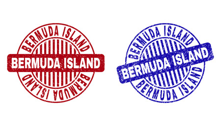 Grunge BERMUDA ISLAND round stamp seals isolated on a white background. Round seals with distress texture in red and blue colors.