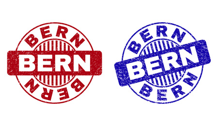 Grunge BERN round stamp seals isolated on a white background. Round seals with distress texture in red and blue colors. Vector rubber watermark of BERN label inside circle form with stripes.