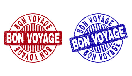 Grunge BON VOYAGE round stamp seals isolated on a white background. Round seals with grunge texture in red and blue colors. Vector rubber watermark of BON VOYAGE title inside circle form with stripes.  イラスト・ベクター素材