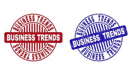 Grunge BUSINESS TRENDS round stamp seals isolated on a white background. Round seals with grunge texture in red and blue colors.