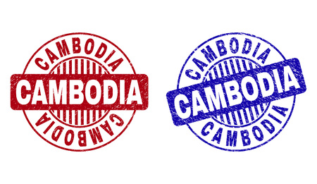 Grunge CAMBODIA round stamp seals isolated on a white background. Round seals with grunge texture in red and blue colors. Vector rubber imprint of CAMBODIA caption inside circle form with stripes.