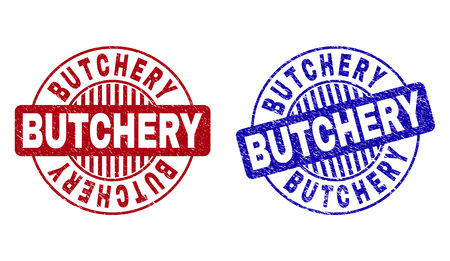 Grunge BUTCHERY round stamp seals isolated on a white background. Round seals with grunge texture in red and blue colors. Vector rubber imitation of BUTCHERY text inside circle form with stripes.