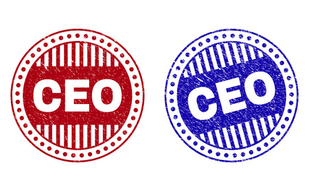 Grunge CEO round stamp seals isolated on a white background. Round seals with grunge texture in red and blue colors. Vector rubber watermark of CEO label inside circle form with stripes.  イラスト・ベクター素材