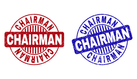 Grunge CHAIRMAN round stamp seals isolated on a white background. Round seals with grunge texture in red and blue colors. Vector rubber imitation of CHAIRMAN caption inside circle form with stripes. Illusztráció
