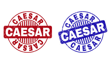 Grunge CAESAR round stamp seals isolated on a white background. Round seals with grunge texture in red and blue colors. Vector rubber overlay of CAESAR tag inside circle form with stripes.