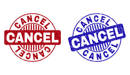 Grunge CANCEL round stamp seals isolated on a white background. Round seals with distress texture in red and blue colors. Vector rubber overlay of CANCEL caption inside circle form with stripes.