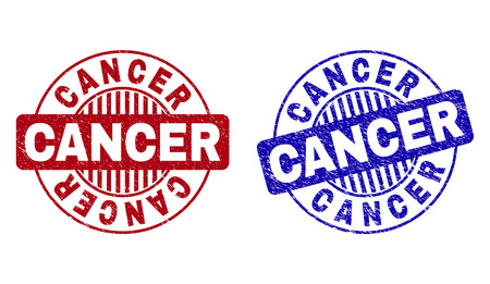 Grunge CANCER round stamp seals isolated on a white background. Round seals with grunge texture in red and blue colors. Vector rubber imitation of CANCER title inside circle form with stripes.