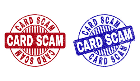 Grunge CARD SCAM round stamp seals isolated on a white background. Round seals with distress texture in red and blue colors. Vector rubber watermark of CARD SCAM tag inside circle form with stripes.