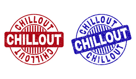 Grunge CHILLOUT round stamp seals isolated on a white background. Round seals with grunge texture in red and blue colors. Vector rubber imprint of CHILLOUT text inside circle form with stripes.