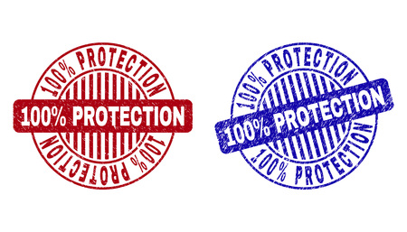Grunge 100% PROTECTION round stamp seals isolated on a white background. Round seals with grunge texture in red and blue colors. Vektoros illusztráció