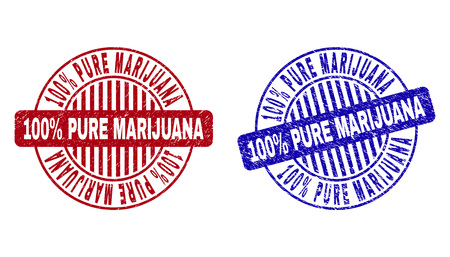 Grunge 100% PURE MARIJUANA round stamp seals isolated on a white background. Round seals with distress texture in red and blue colors.