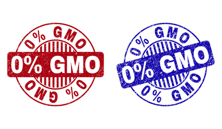 Grunge 0% GMO round stamp seals isolated on a white background. Round seals with grunge texture in red and blue colors. Vector rubber overlay of 0% GMO text inside circle form with stripes.