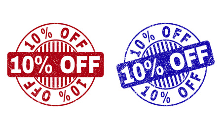 Grunge 10% OFF round stamp seals isolated on a white background. Round seals with distress texture in red and blue colors. Vector rubber watermark of 10% OFF label inside circle form with stripes.