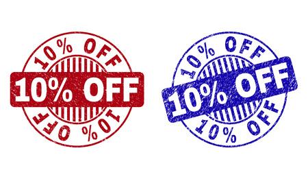 Grunge 10 % Rabatt auf runde Stempelsiegel isoliert auf weißem Hintergrund. Runde Siegel mit Distress-Textur in roten und blauen Farben. Vektor-Gummi-Wasserzeichen mit 10% Rabatt auf das Etikett in Kreisform mit Streifen. Vektorgrafik