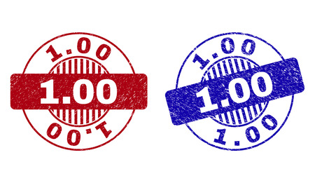 Grunge 1.00 round stamp seals isolated on a white background. Round seals with grunge texture in red and blue colors. Vector rubber imprint of 1.00 title inside circle form with stripes.