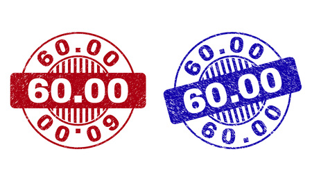 Grunge 60.00 round stamp seals isolated on a white background. Round seals with grunge texture in red and blue colors. Vector rubber watermark of 60.00 caption inside circle form with stripes.