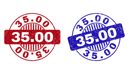 Grunge 35.00 round stamp seals isolated on a white background. Round seals with grunge texture in red and blue colors. Vector rubber imitation of 35.00 label inside circle form with stripes.