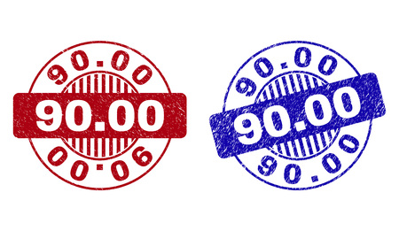 Grunge 90.00 round stamp seals isolated on a white background. Round seals with grunge texture in red and blue colors. Vector rubber imitation of 90.00 title inside circle form with stripes.