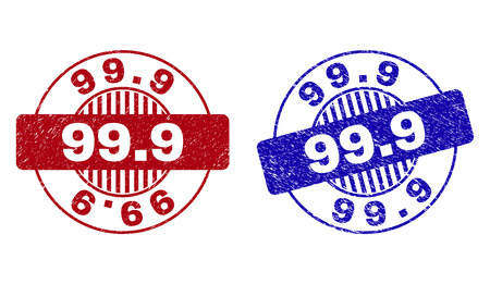 Grunge 99.9 round stamp seals isolated on a white background. Round seals with grunge texture in red and blue colors. Vector rubber imprint of 99.9 label inside circle form with stripes.  イラスト・ベクター素材