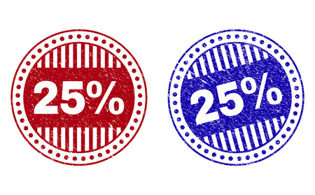 Grunge 25% round stamp seals isolated on a white background. Round seals with grunge texture in red and blue colors. Vector rubber overlay of 25% caption inside circle form with stripes.