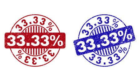 Grunge 33.33% round stamp seals isolated on a white background. Round seals with grunge texture in red and blue colors. Vector rubber imitation of 33.33% caption inside circle form with stripes.
