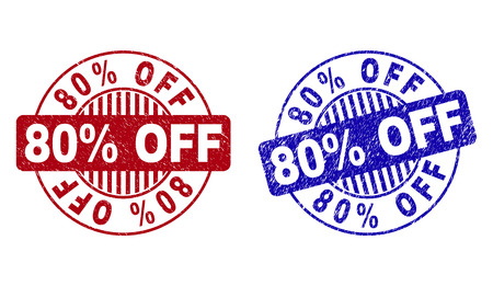 Grunge 80% OFF round stamp seals isolated on a white background. Round seals with grunge texture in red and blue colors. Vector rubber overlay of 80% OFF label inside circle form with stripes. Stock Illustratie