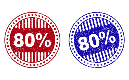 Grunge 80% round stamp seals isolated on a white background. Round seals with grunge texture in red and blue colors. Vector rubber imprint of 80% tag inside circle form with stripes.