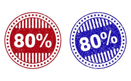 Sellos de sello redondo Grunge 80% aislados sobre fondo blanco. Sellos redondos con textura grunge en colores rojo y azul. Huella de goma de vector de etiqueta del 80% dentro de forma de círculo con rayas.