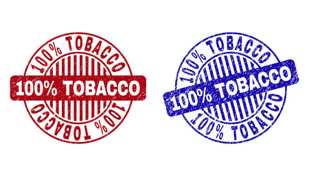 Grunge 100% TOBACCO round stamp seals isolated on a white background. Round seals with distress texture in red and blue colors.