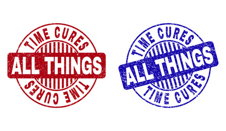 Grunge TIME CURES ALL THINGS round stamp seals isolated on a white background. Round seals with distress texture in red and blue colors. Stock Illustratie