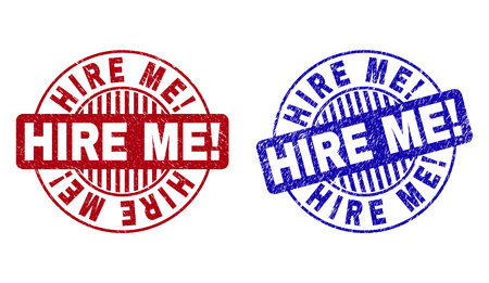 Grunge HIRE ME! round stamp seals isolated on a white background. Round seals with grunge texture in red and blue colors. Vector rubber imprint of HIRE ME! tag inside circle form with stripes.