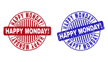 Grunge HAPPY MONDAY! round stamp seals isolated on a white background. Round seals with distress texture in red and blue colors.