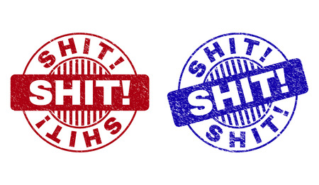Grunge SHIT! round stamp seals isolated on a white background. Round seals with distress texture in red and blue colors. Vector rubber watermark of SHIT! title inside circle form with stripes.