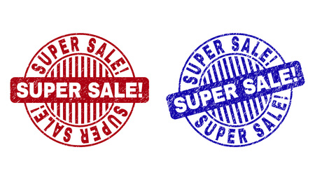 Grunge SUPER SALE! round stamp seals isolated on a white background. Round seals with distress texture in red and blue colors.