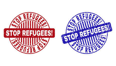 Grunge STOP REFUGEES! round stamp seals isolated on a white background. Round seals with grunge texture in red and blue colors.