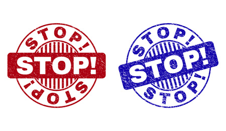 Grunge STOP! round stamp seals isolated on a white background. Round seals with grunge texture in red and blue colors. Vector rubber imitation of STOP! title inside circle form with stripes.