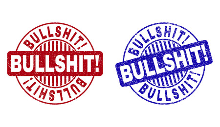 Grunge BULLSHIT! round stamp seals isolated on a white background. Round seals with grunge texture in red and blue colors. Vector rubber imprint of BULLSHIT! text inside circle form with stripes. Illustration