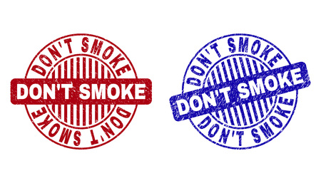 Grunge DONT SMOKE round stamp seals isolated on a white background. Round seals with grunge texture in red and blue colors. Stock Illustratie