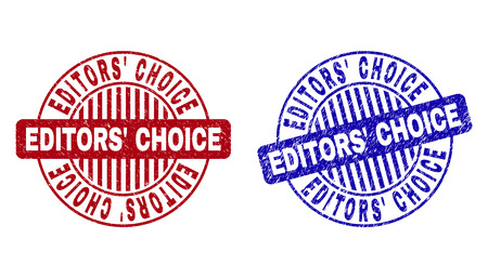 Grunge EDITORS CHOICE round stamp seals isolated on a white background. Round seals with grunge texture in red and blue colors. Stock Illustratie